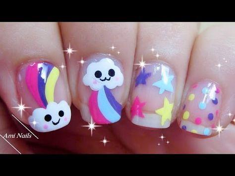 Nail art Kawaii de nubes y arcoiris   Decoración de Uñas - Manicura y Nail Art