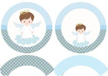 Kit de Angelito en Celeste: Toppers y Wrappers para Cupcakes para Imprimir Gratis.