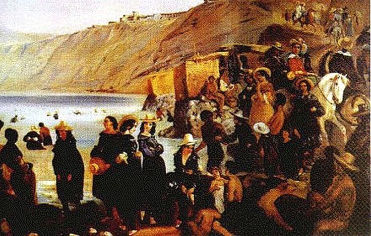 """Baños de Chorrillos"". (by Johann Moritz Rugendas (1802-1858)"
