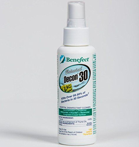 Benefect CD33GL Botanical Decon 30, 4 oz Spray Bottle:   New Decon 30 solves this problem by being specially formulated to kill gram-negative and gram-positive bacteria with a more realistic contact time of just 30 seconds! In addition to being bactericidal against Staphylococcus aureus (Staph), Salmonella enterica, Pseudomonas aeruginosa & Escherichia coli (E-coli), it is also virucidal against Rhinovirus (the common cold virus) and Influenza A including the Pandemic 2009 H1N1 on hard...