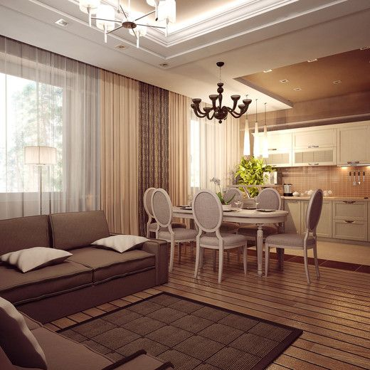 интерьер гостиная-кухня фото - Поиск в Google