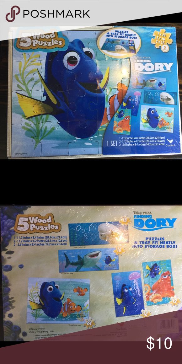 New Disney's Pixar Finding Dory 5 wood Puzzle Set New Disney's Pixar Finding Dory 5 wooden Puzzle Set. Includes a storage box. 1 - 24 piece puzzle, 2 - 16piece puzzles, and 2 - 12 piece puzzles. Dory, Nemo, Beluga whale Disney Other