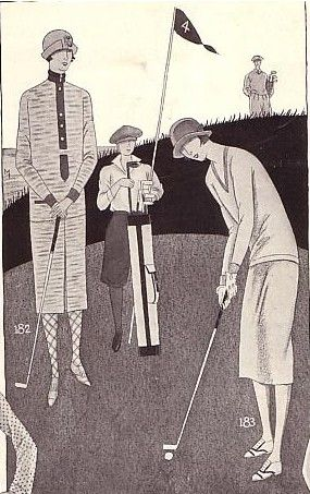 By 1920, the standard golf ensemble was a matching two-piece dress. Golf dresses were rather plain, with a straight or a pleated skirt. Women often wore patterned stockings, and golf shoes of the time usually had rubber soles. Starting around 1921, women golferswere sometimes pictured in knickers, but that would not have be allowed at many country clubs.  Illustration from Bonwit Teller Sports catalogue, 1925