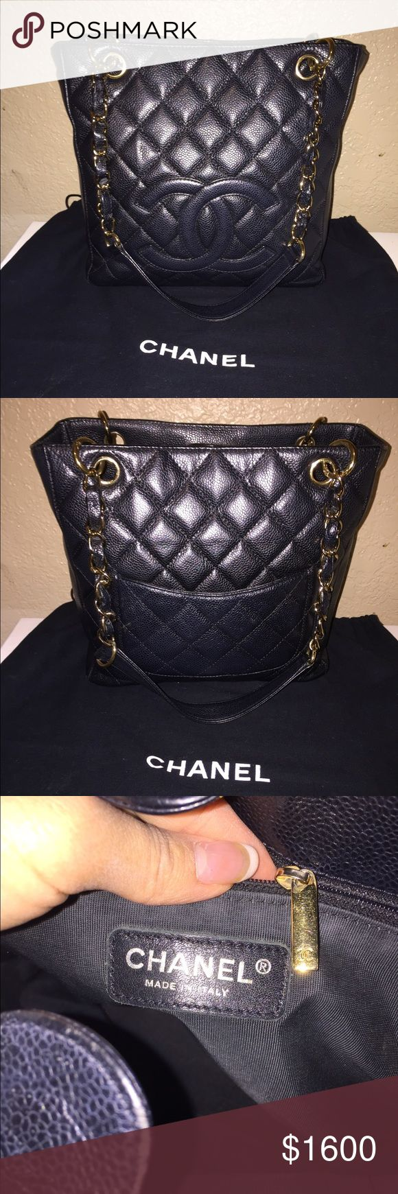 Authentic Chanel Caviar Black Petite Shopping Tote Authentic Chanel Caviar Black Petite Shopping tote. In good pre owned condition with dust bag included. Gold hardware. No stains, tears or odors. Normal wear around the bag. Chanel prices constantly increase so they retain their value and you would be investing in this bag and not losing $! CHANEL Bags Totes