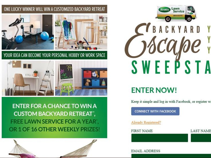 Enter the Scotts Lawn Service Backyard Escape Sweepstakes for a chance to win a custom Tuff Shed!