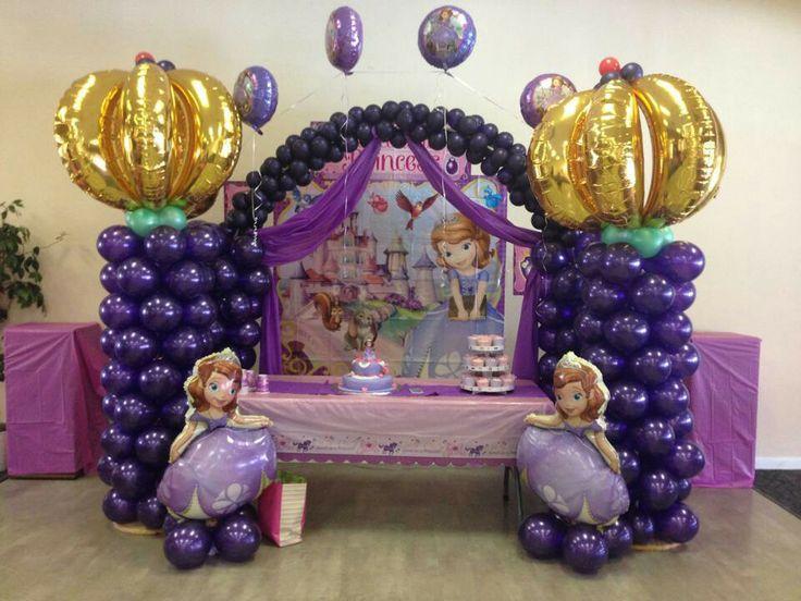Sofia the first balloon decoration balloon columns for 1st birthday balloon decoration ideas
