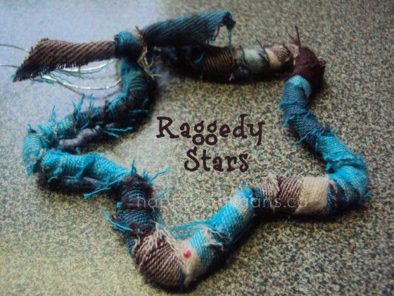 Rag star ornaments - an easy Christmas ornament to make with pipe cleaners and fabric scraps - happy hooligans