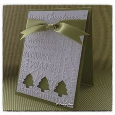 Stampin' Up! handmade Christmas card ... no-stamping one-layer card ... Christmas words embossing folder texture ... white and olive ... three negative space trees showing the olive card base ... satin ribbon ... clean and simple ... like it!