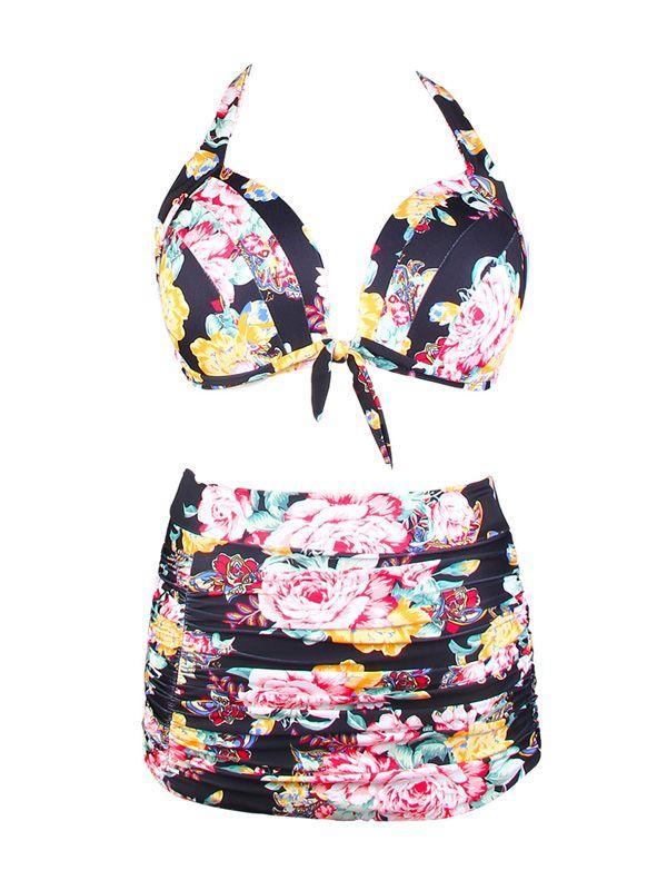 b41d743fccb CJCMALL Women High Waisted Black Floral Bikini Set Swimsuit Plus Size  Padded Bandeau Swimwear Waisted