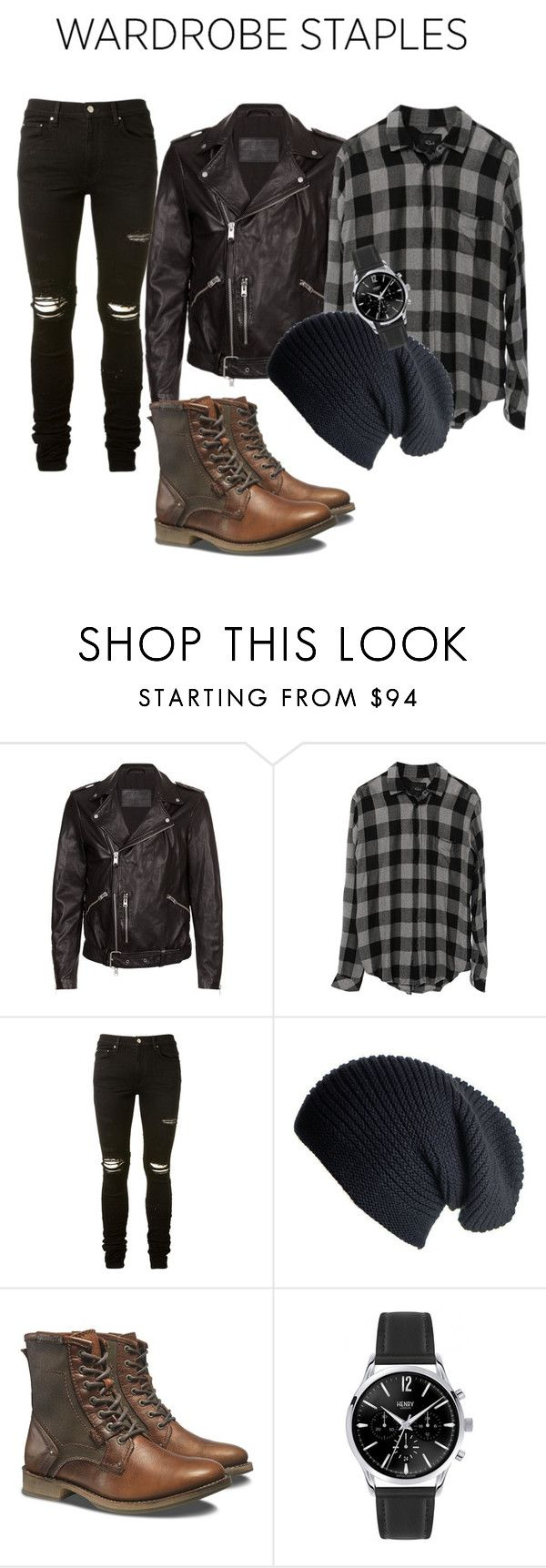 """Wardrobe staples"" by officialalmina ❤ liked on Polyvore featuring AllSaints, AMIRI, Black, Caterpillar, men's fashion, menswear, plaid and WardrobeStaples"
