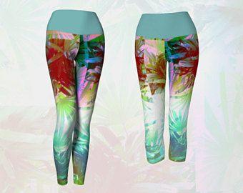 Bright Tropical Palm Leaves Print Superior Yoga Leggings
