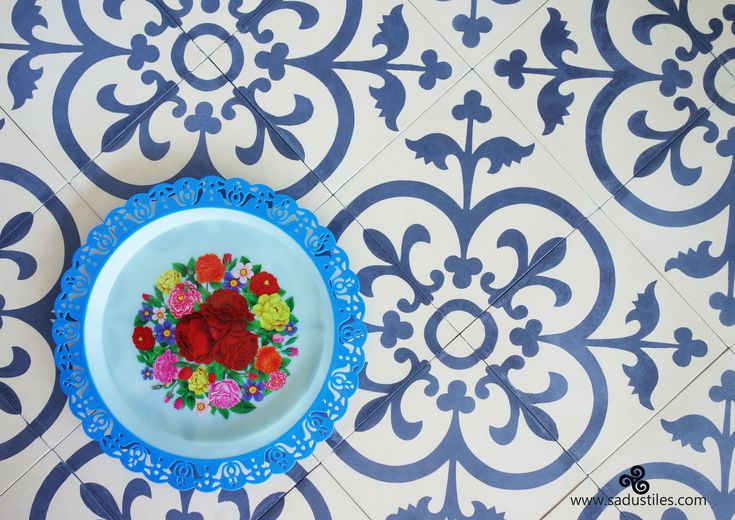 """We have quite a few orders at Sadus Tiles in this color combination """"living white"""" and dark blue."""