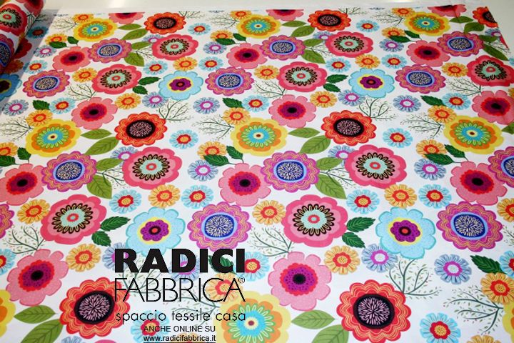 http://www.radicifabbrica.it/prodotto/raso-di-cotone-h-cm-290-stampa-digitale/ 100% Cotton satin with digital printing with bright colors and amazing flower-power design!  280 cm tall, machine washable at 30 ° Ideal for any kind of crafting/DIY/sewing project!  100% Made in Italy!