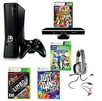 Xbox 360 4 Gb Kinect System with Just Dance 2014, Xbox Live Triple Pack & Headset