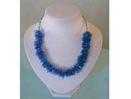 Chunky blue cornflake bead necklace created by upcycling a soft drink bottle.