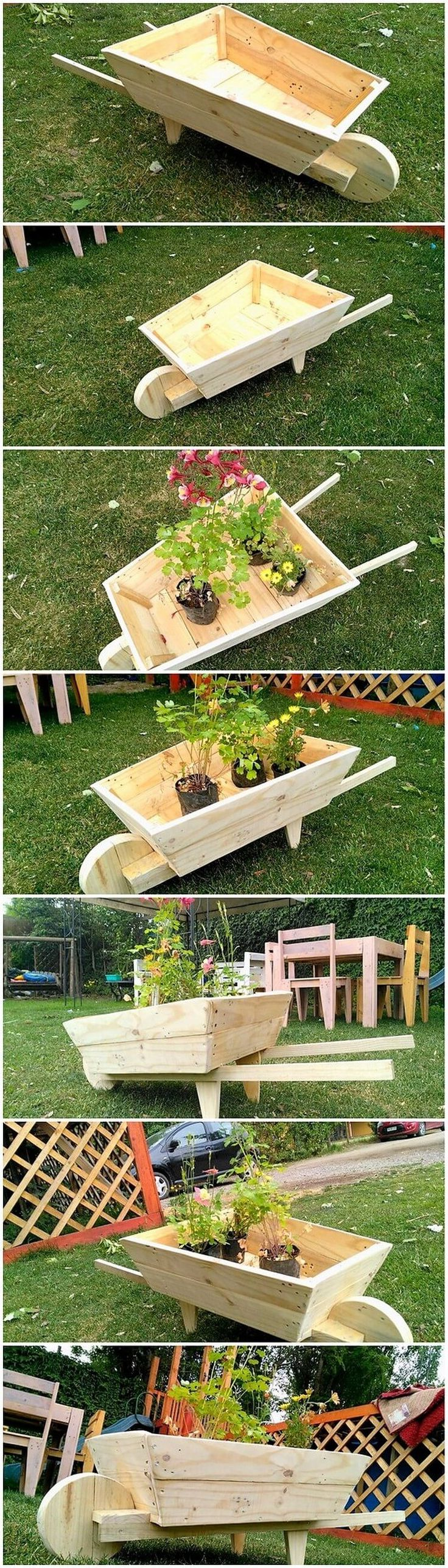 There are so many wood pallet design ideas for your house which you can use in the creation of the wood pallet wheel barrow options. The interesting part of this wood pallet wheel barrow design is all giving out the impression of being the complete furniture set for your house decoration or gardening.