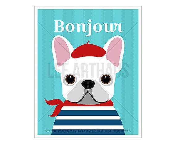 90D Dog Print - White French Bulldog Wall Art - Frenchie Dog Print - French Bulldog Dog Art - Dog Portrait - Funny Dog Print - Bonjour Art