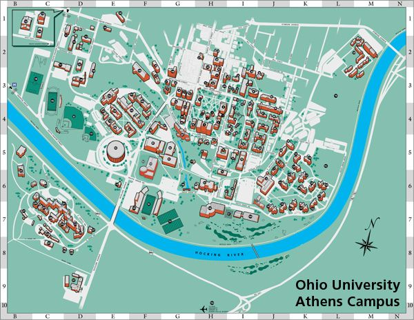 Ohio University Campus Map.  Jenna attended from 2005-2009.