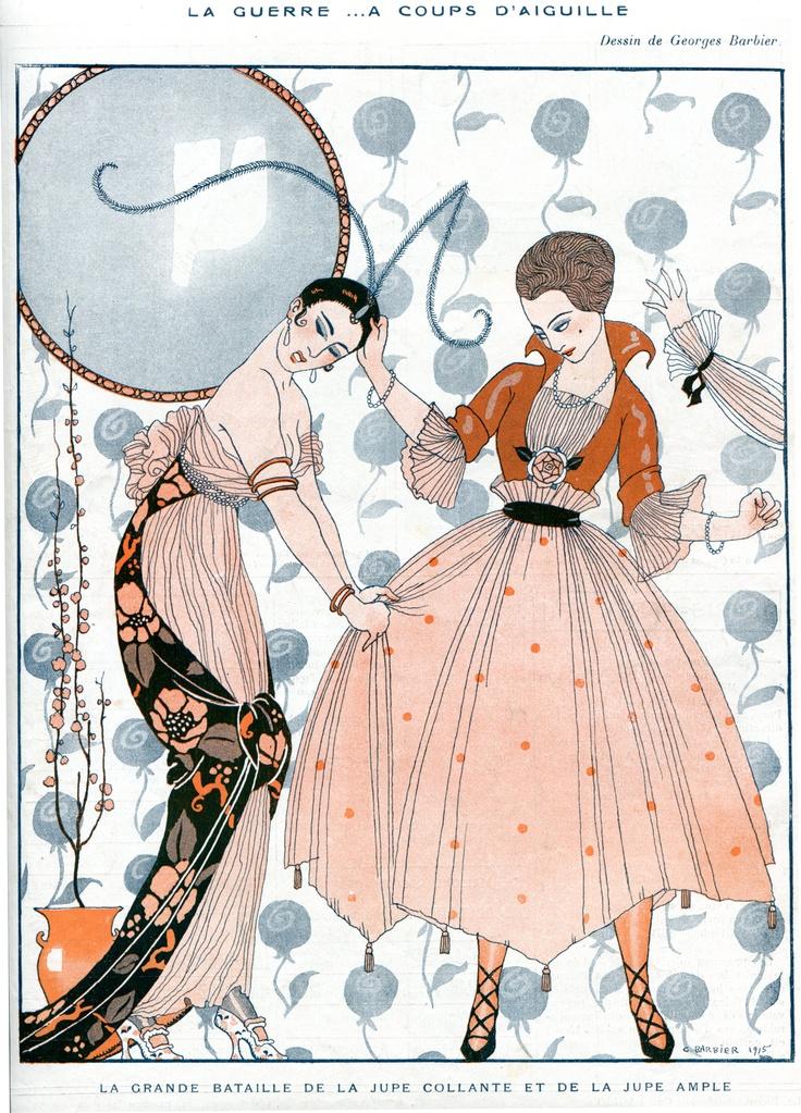 """George Barbier for La Vie Parisienne 8th May 1915 - La Guerre .... a coups d'aiguille captioned """"la grande bataille de la jupe collante et de la jupe ample"""""""