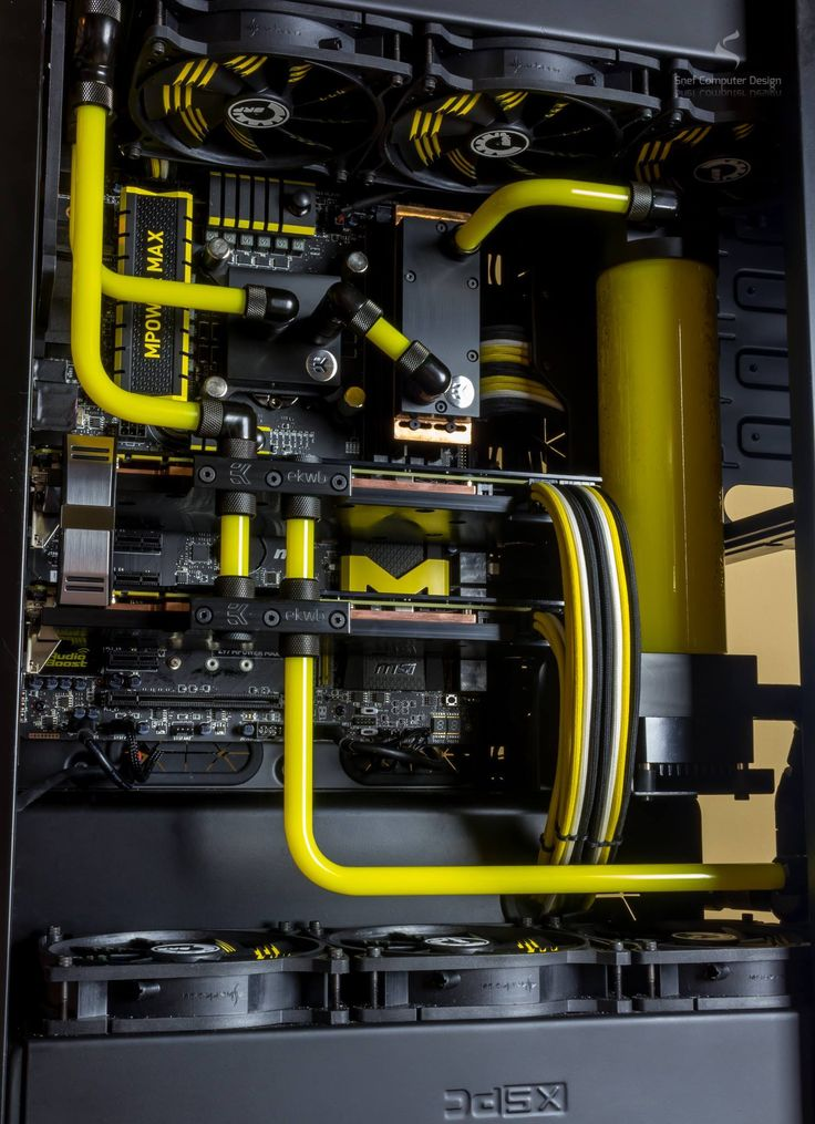 Snef's gorgeous MSI MPower MAX black'n'yellow themed build featuring fully customized EK Water Blocks custom PC/rig