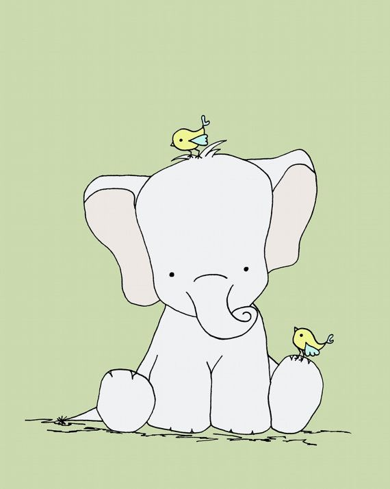 Elephant Nursery Art Feathered Friends by SweetMelodyDesigns, $10.00