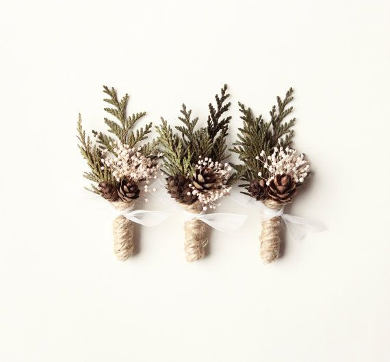Wedding boutonniere groomsmen button hole Woodland by whichgoose