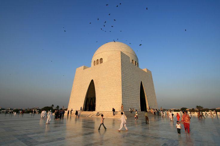 The Mausoleum of Quaid-i-Azam at dusk.  It is a monument to Pakistan's founder Mohamed Ali Jinnah. Karachi, #Pakistan #religion #photography #travel
