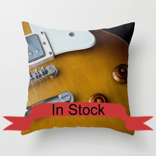 Guitar Pillow Cover Man Cave Decor Guitar Decor Photo Pillows Music Studio Decor Decorative Throw Pillow Covers Cotton Pillow Case In Stock http://ift.tt/1poyckE