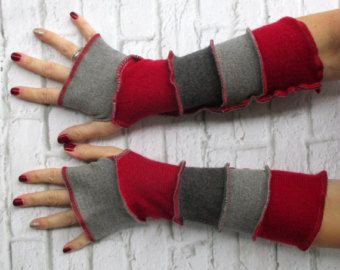 Texting guanti - guanti di guida - regalo alla moda per lei - braccio maniche - guanti senza dita - polso scalda - rosso grigio - abbigliamento fatto a mano