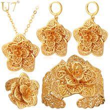 U7 Grande Flor Do Vintage Conjuntos de Jóias Colar de Cor de Ouro Manguito pulseira Brincos E Anel Nupcial da Jóia Do Casamento Para As Mulheres Presente S56(China (Mainland))