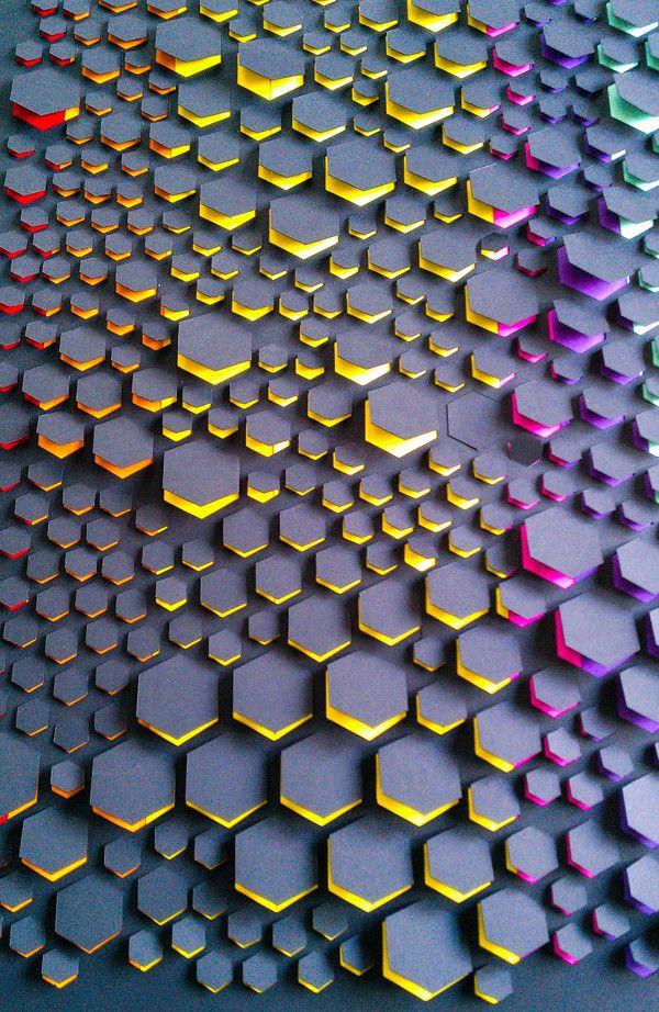 Paper volume by Anna Vinokurova, via Behance hexagons
