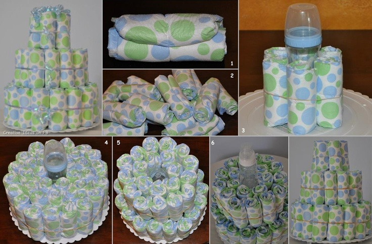 Cake of dipers for newborn ;) good idea!