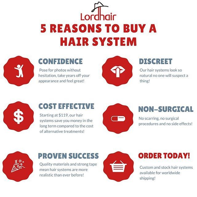 5 Reasons to Buy a Hair System . . . Read the full version: http://pin.it/xZOrhPw  #hair #hairloss #hairlosssolution #lordhair #hairsystem #menshair #womenshair #menshealth #womenshealth #infographic #toupee #wig