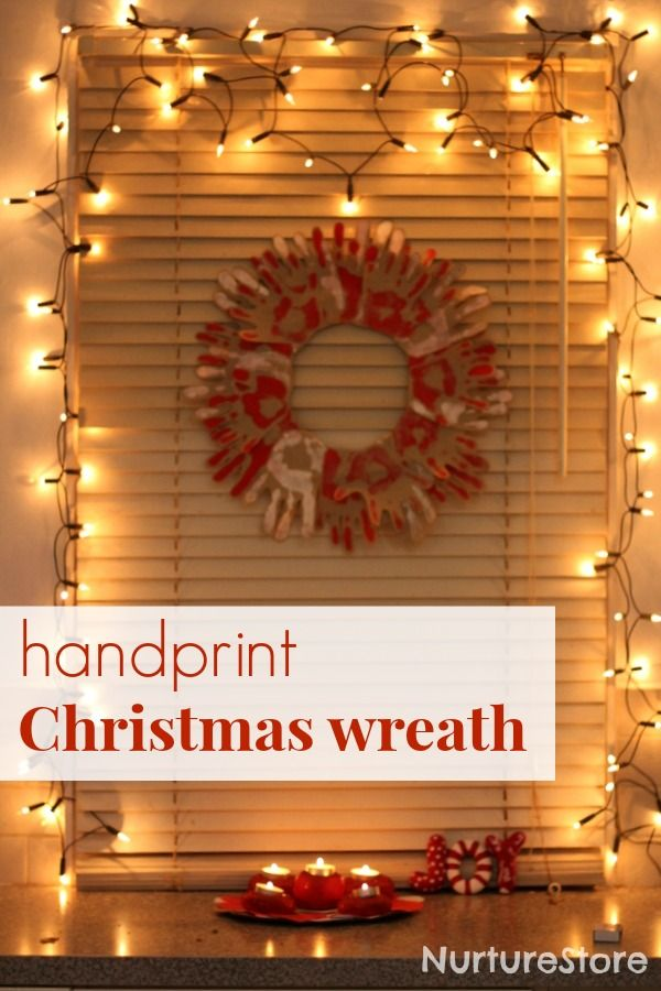 Easy to make and beautiful: handprint Christmas wreath {made with Christmas scented paint!}