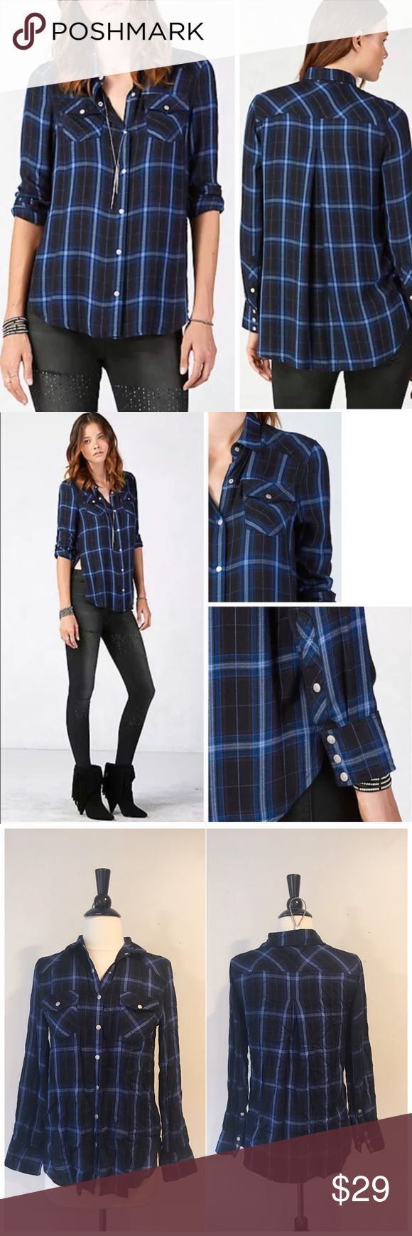 True Religion Georgia Relaxed Plaid Buttondown Top True Religion Georgia Relaxed Plaid Buttondown Top $138 retail. Condition: excellent preowned only worn once no stains or rips. Details: Bold, ultra soft, plaid in a Relaxed fit. 100% Rayon. True Religion Tops Button Down Shirts