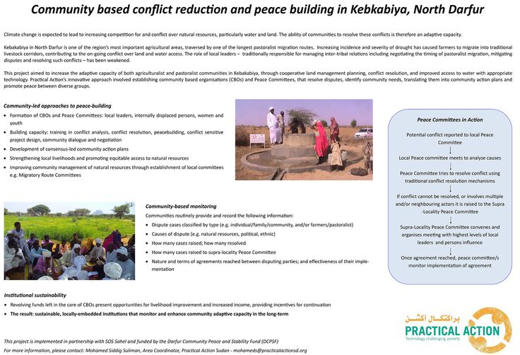 Practical Action: Conflict reduction in North Darfur   This poster describes a joint project which aimed to increase the adaptive capacity of communities in  Kebakabiya region of North Darfur. The area is a major agricultural area and also lies on a pastoralist migration route. Increasing drought has led to conflicts over water.  The project established community-based organisations and Peace Committees which worked to resolve disputes and identify community needs, translating these into…