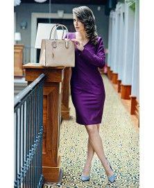 e3b2b2fc4d Śliwkowa sukienka biznesowa Vivaldi