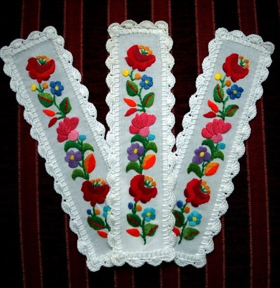 Hand embroidered Bookmark with Kalocsa by EmbroideryOfHungary