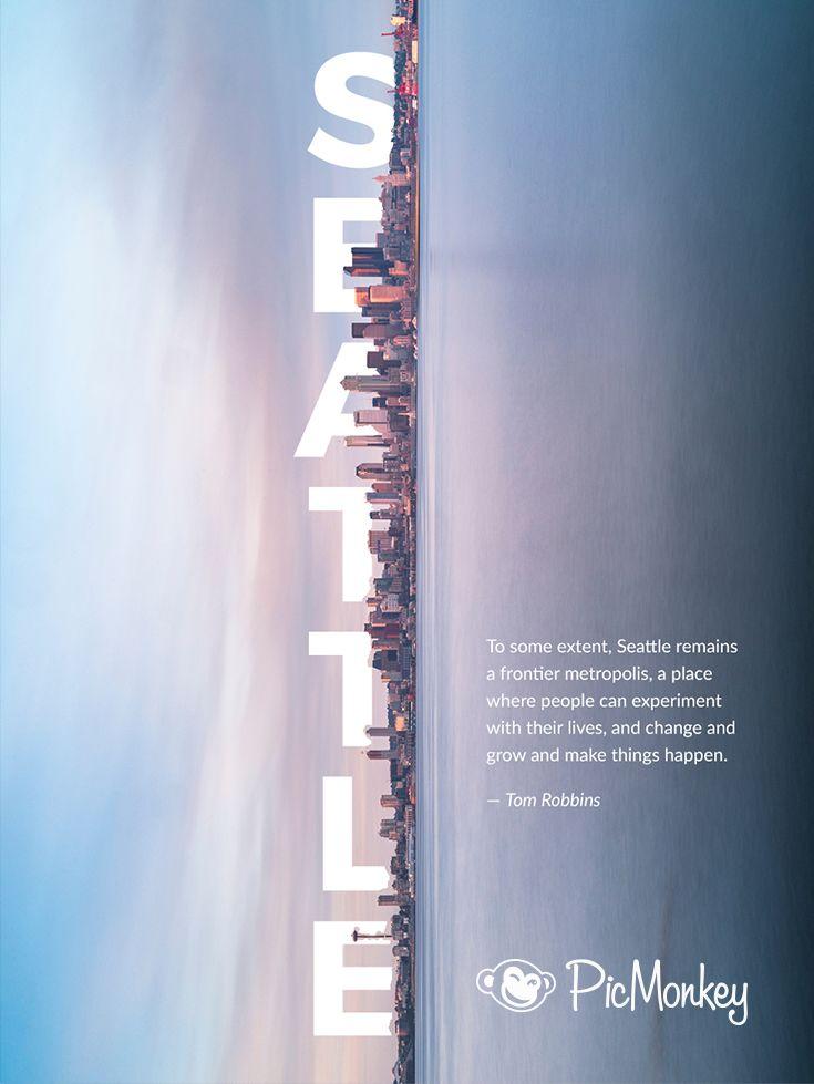 创意海报 城市 海 照片 文字