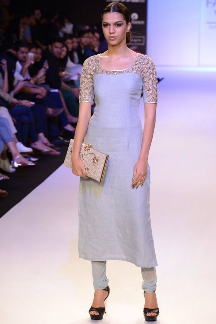 Pale blue cutwork embroidered kurta set available only at Pernia's Pop-Up Shop.