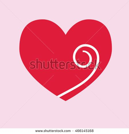 Red heart icon vector with spiral. Vector Illustration. Heart icon. Love symbol
