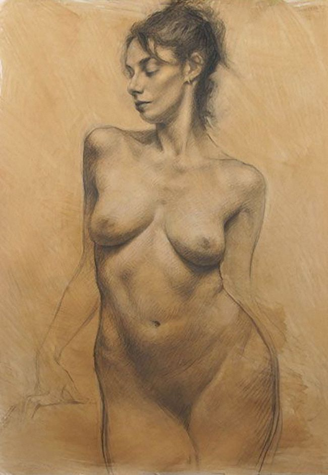 Drawing nude woman charcoal