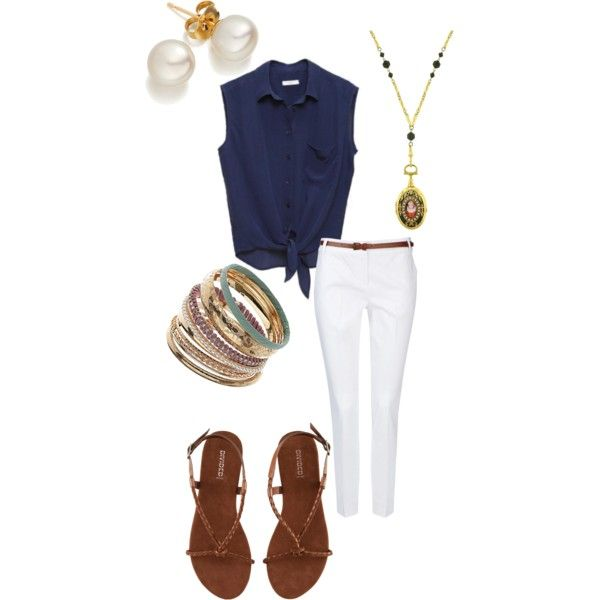 """""""Easy Summer"""" by brittany-schmidt on PolyvoreDaily Outfit, Summer Wear, Blue Shirts, Easy Schools Outfit, Easy Summer, Travel Outfit, White Jeans, Casual Summer Outfit, Beads Sandals"""