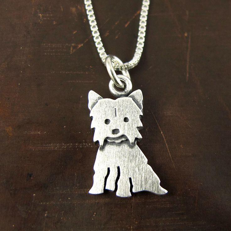 Tiny Yorkie necklace / pendant by StickManJewelry on Etsy