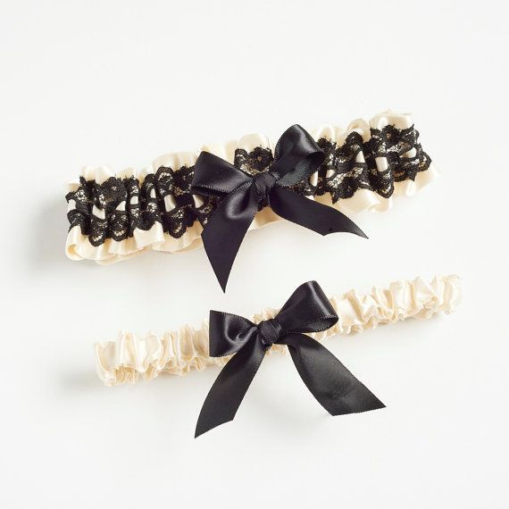 Ivory And Black Lace Garter Set By The Girl