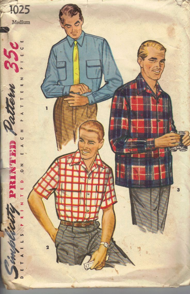 Vintage 1950 S Men S Shirt Pattern 50s 60s Pinterest