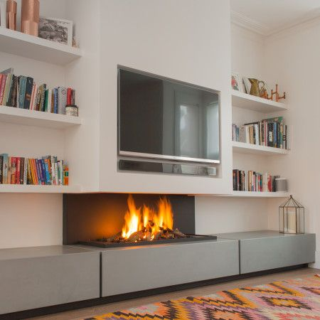 tv above fireplace, modern gas fire, designer fireplaces                                                                                                                                                                                 More