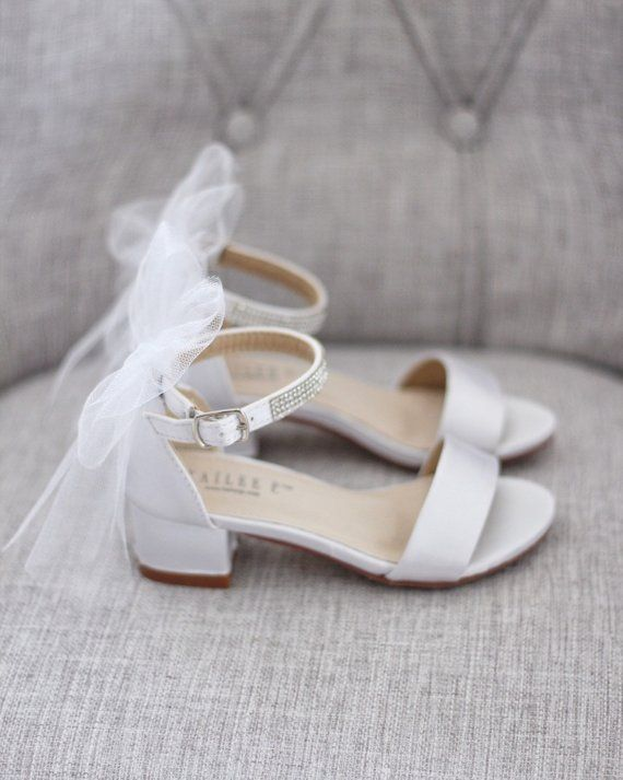 White Satin Block Heel Sandal With Tulle Back Bow Bride Etsy Flower Girl Shoes Bridesmaid Shoes Princess Shoes