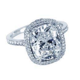 Elongated Cushion Cut Engagement Rings Pave 15