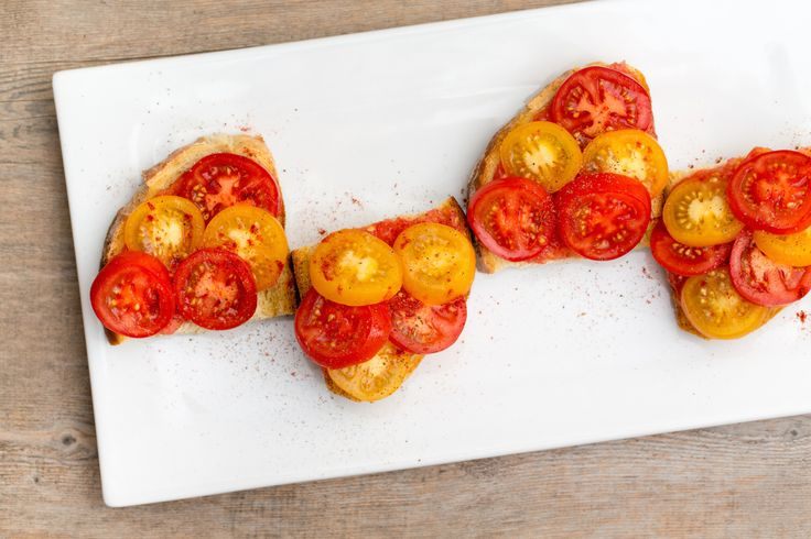 Tumaca sauce from the Spain Box makes this take on Pan con Tomate easier to make than ever. Heirloom tomatoes add an extra punch of tomato flavor